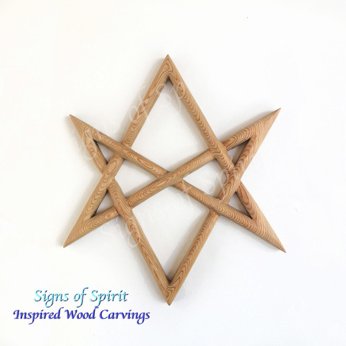 Unicursal Hexagram wood carving by Signs of Spirit