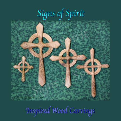 Variations of Tapered Celtic Cross Wall decor-Wood Carved Christian Cross by Signs of Spirit