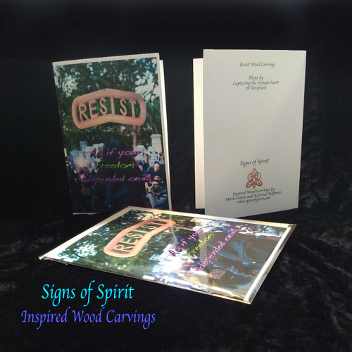 Resist-As if Your Freedom Depended on It-Greeting Card by Signs of Spirit, Front, Back and wrapped in clear protective bag.