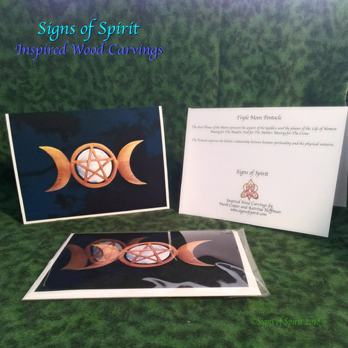 Triple Moon Pentacle Wood Carving Greeting Card by Signs of Spirit, Front, Back and wrapped in clear protective bag.