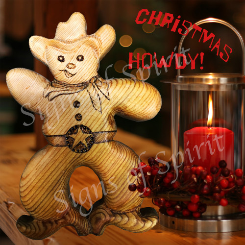 Cowboy Christmas Card - Front  by Signs of Spirit