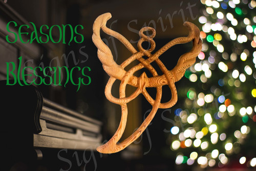Celtic Angel Christmas Card A7 Seasons Blessings Music Piano Tree Lights