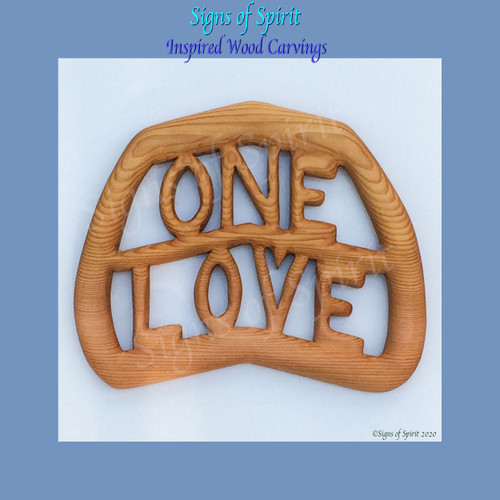 One Love Wood Carving by Signs of Spirit