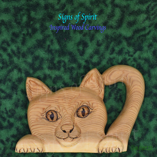 Curious Cat Carving by Signs of Spirit