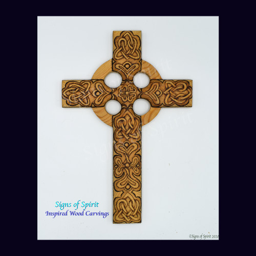 Celtic Christian Cross with Celtic Knot of Everlasting Love Wood Burning Abstract Heart and Flowers for Spring by Signs of Spirit