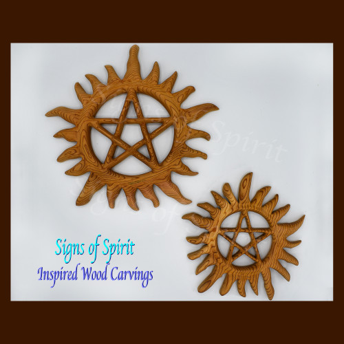 Sunburst Pentacle ~Inspired Wood Carvings~ by Signs of Spirit