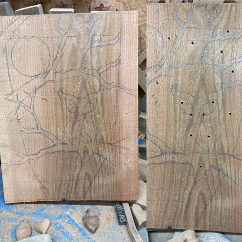 Owl Moon and Tree Wood Carving by Signs of Spirit. Design laid out, holes drilled in spaces