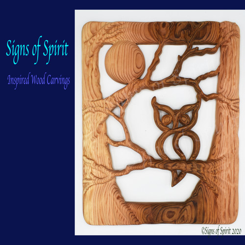 Owl Moon and Tree Wood Carving by Signs of Spirit.