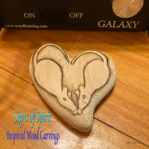 Mouse Love Wood Burned Heart by Signs of Spirit