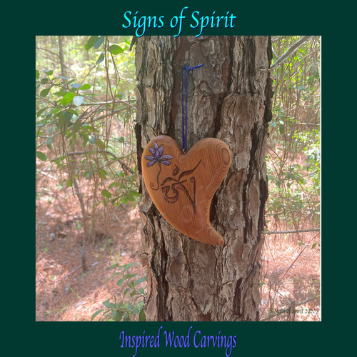 Wood Carved Heart with Tibetan OM and Purple Lotus by Signs of Spirit