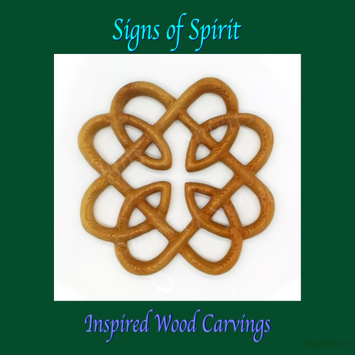 Celtic Fatherhood Shield Knot wood carving by Signs of Spirit