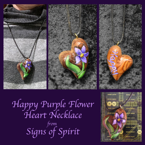 Happy Purple Flower Heart Necklace by Signs of Spirit
