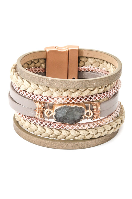 Rose Gold Magnetic Close Bracelet with Natural Stone
