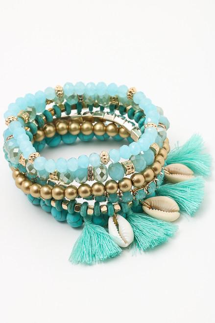 Teal Multi Strand Beaded Tassel Bracelet with Shells