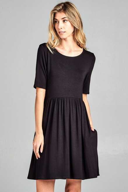 Black Dress with Crisscross Back and side pockets