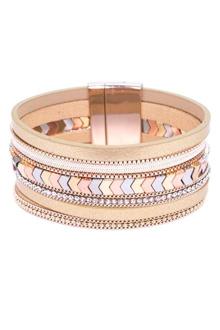 Rose Gold Rhinestone Multi strap Bracelet with Magnetic Close