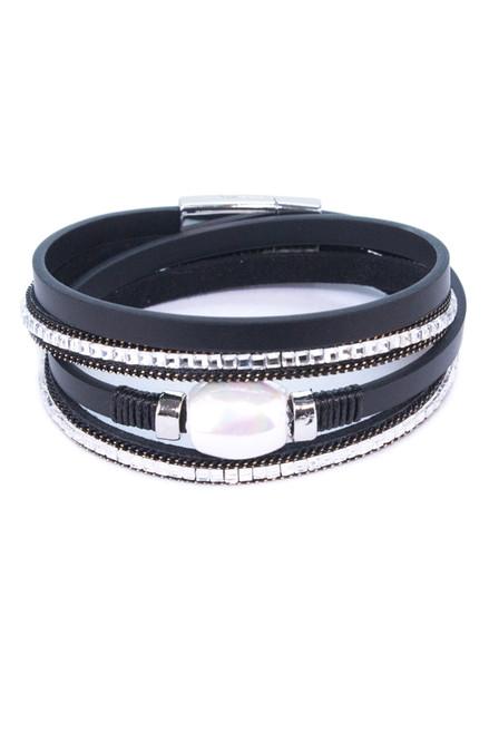 Black Multi Strap Pearl Magnetic Close Bracelet