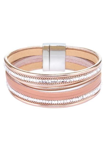 Rose Gold Multi Strap Magnetic Close Bracelet