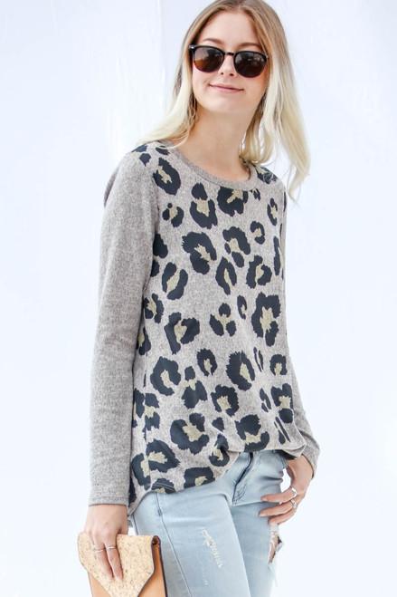 Charcoal Animal Print Long Sleeve Top