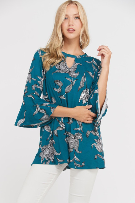 Teal Floral Tunic PLUS