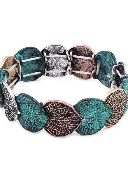 Multicolor Leaf Stretch Bracelet