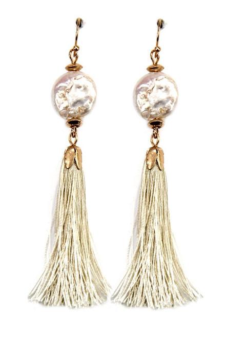 Pearl and Ivory Tassel Dangle Earrings