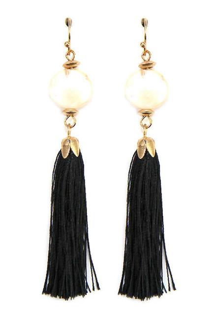 Pearl and Black Tassel Dangle Earrings