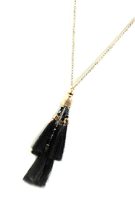 Black Multi Tassel Necklace Set with Matching Tassel Earrings