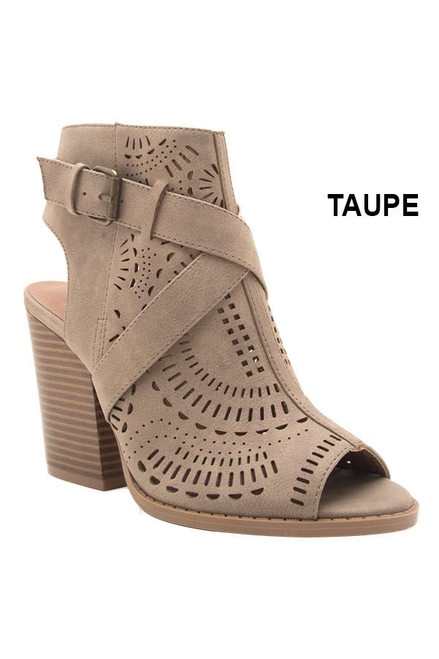 Open Toe and Heel Bootie in Taupe