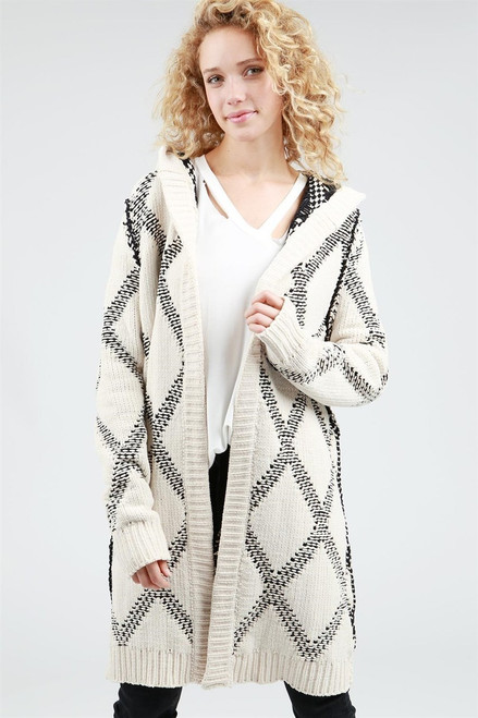 Beige and Black Long Open Front Hooded Cardigan 100% Polyester