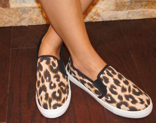Camel Leopard Slip On Sneaker