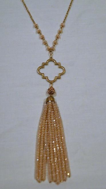 Nude Filigree Tassel Necklace