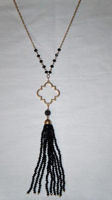 Black Filigree Tassel Necklace