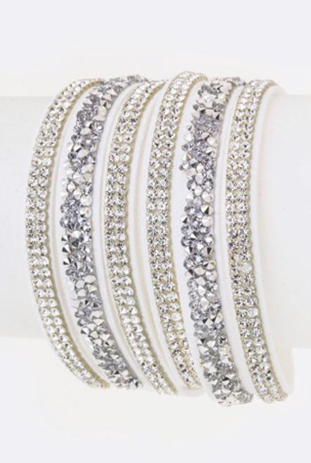 White Multi Strap Rhinestone Snap Bracelet