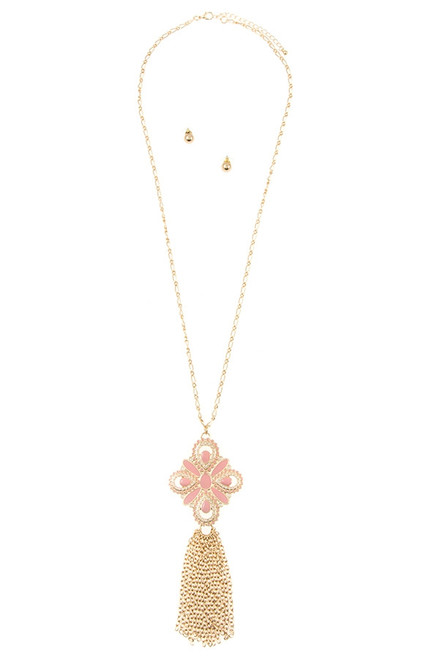 Pink Floral Pendant with Tassel Necklace and Earring Set