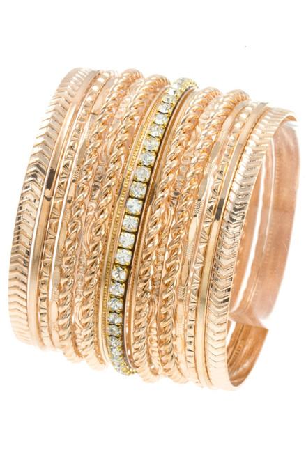 Gold and Rhinestone Multi Bangle Bracelet