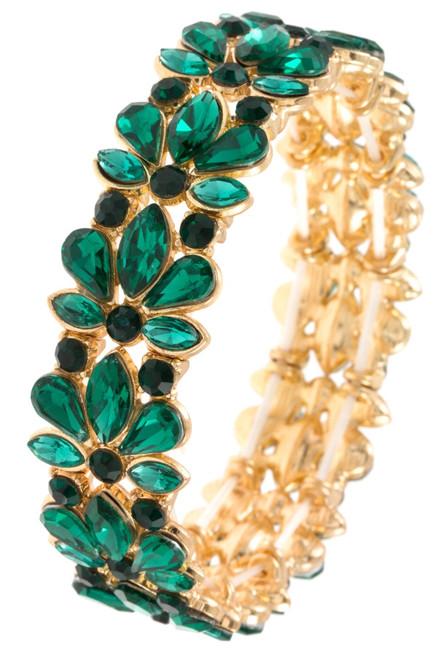 Green Floral Stretchable Bracelet