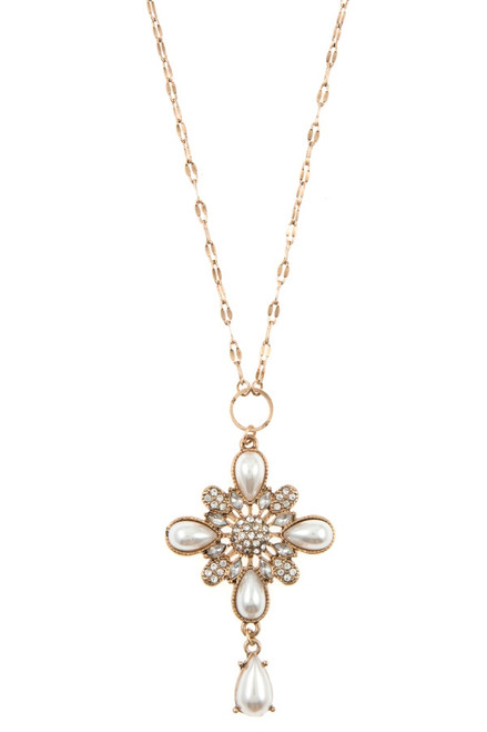 Pearl and Rhinestone Pendant Necklace