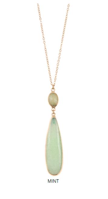 Mint Stone Pendant Necklace