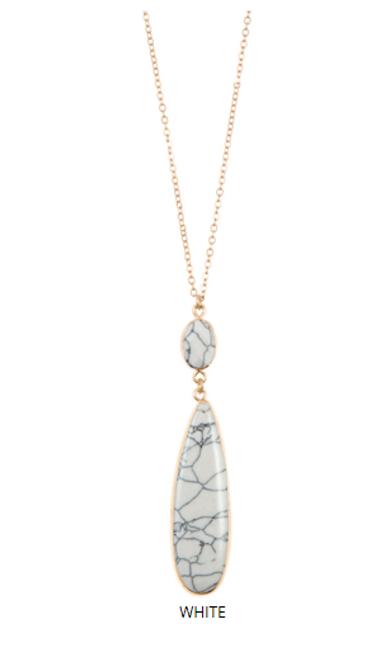 White Stone Pendant Necklace