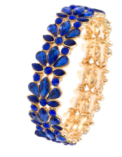 Sapphire Floral Stretchable Bracelet