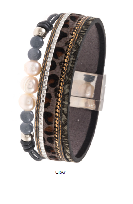 Gray Multi Strap with Pearl and Cheetah Print Magnetic Close Bracelet