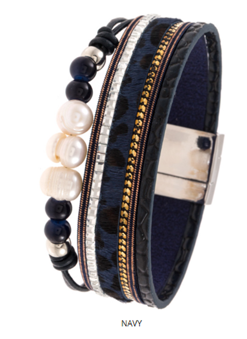 Navy Multi Strap with Pearl and Cheetah Print Magnetic Close Bracelet