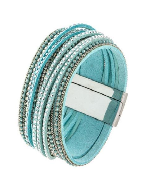Turquoise Multi Strap Rhinestone Magnetic Close Bracelet