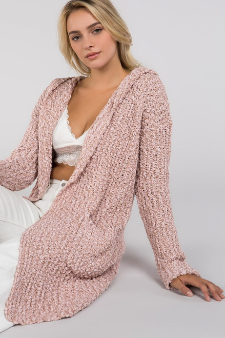 Dusty Pink Hooded Cardigan with Slouchy Side Pockets