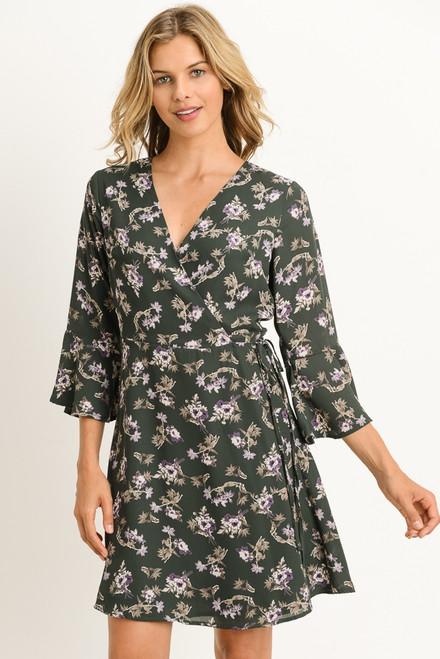 Olive Floral Print Dress