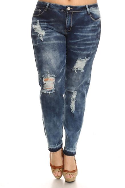 PLUS Distressed Jeans