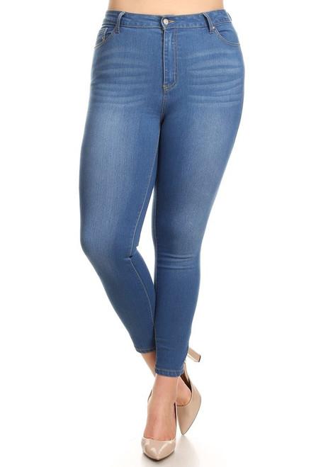 PLUS High Waist Denim Jean in Medium Wash