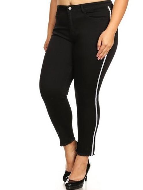 PLUS Black Skinny Jean with White Stripes on Legs