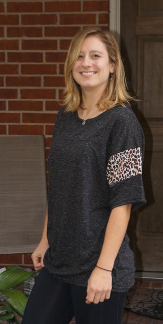 Black Cheetah Print on Sleeves Shirt
